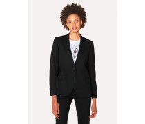 Black Wool-Hopsack Blazer With 'Acapulco' Lining