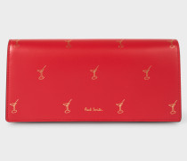 Red 'Doodle' Leather Tri-Fold Purse