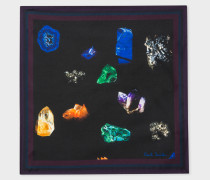 Black 'Precious Stones' Print Silk Pocket Square