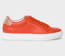 Burnt Orange Leather 'Basso' Trainers With Signature Stripe Trims