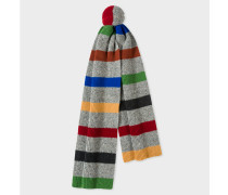 Grey Donegal Stripe Wool Scarf
