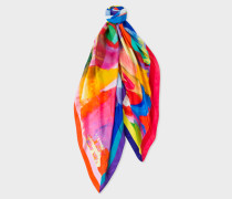 Abstract 'Lollipop' Painted Print Silk Scarf