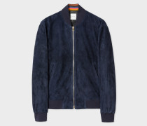 Dark Navy Suede Bomber Jacket