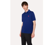 Slim-Fit Blue Cotton-Piqué Polo Shirt With Embroidered 'Heart'