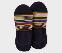 Dark Navy Multi-Colour Striped Loafer Socks