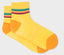 Yellow 'Artist Stripe' Trim Cycling Socks