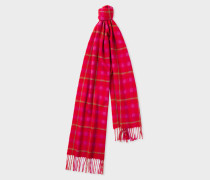 Pink and Red Check Cashmere Scarf