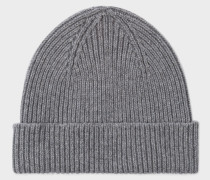 Grey Cashmere-Blend Ribbed Beanie Hat
