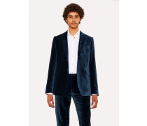 Slim-Fit Slate Blue Velvet Blazer