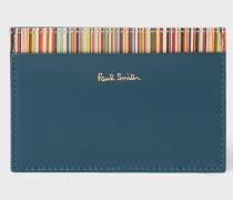 Teal Credit Card Holder With Signature Stripe Trim