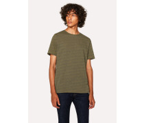 Ochre And Petrol Blue Flecked Cotton T-Shirt