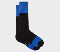 Black Colour-Block Cable Knit Wool-Blend Socks
