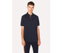 Slim-Fit Navy Cotton-Piqué Polo Shirt With 'Artist Stripe' Placket