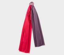 Red And Dark Purple Dip-Dye Stripe Cashmere-Blend Scarf