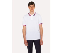 White Polo Shirt With Multi-Coloured Tipping