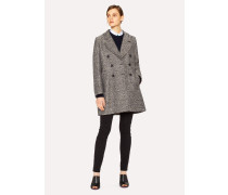 Black And White Tweed Cocoon Coat