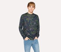 Dark Navy Camouflage Print Cotton Long-Sleeve T-Shirt