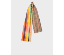 Mixed-Stripe Silk Scarf