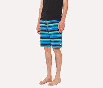 Blue And Green Stripe Jersey Cotton Lounge Shorts