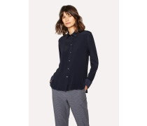 Navy Silk-Blend Shirt With Contrasting Cuffs