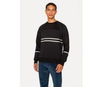 Black Cotton-Viscose Panelled Stripe Sweatshirt