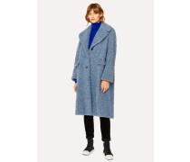 Slate Blue Bouclé Cocoon Coat