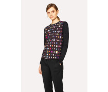 Black Long-Sleeve Top With 'Jewels' Print
