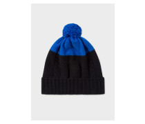 Black And Blue Cable-Knit Beanie Hat
