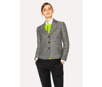 Black and White Tweed Cotton-Blend Blazer