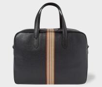 Black Leather Signature Stripe Weekend Bag
