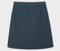 Navy Houndstooth Pattern Cotton Skirt