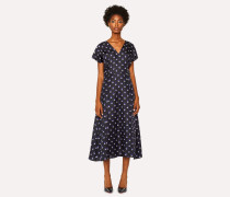 Black V-Neck Silk Dress With 'Eclipse Spot' Print