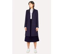 Indigo Wool-Blend Epsom Coat