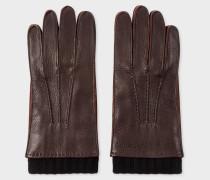 Chocolate Brown Deerskin Silk-Cashmere Lined Gloves