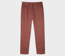 Slim-Fit Rust And Black Check Stretch-Cotton Trousers