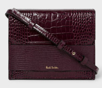 Burgundy Mock-Croc Cross-Body Bag