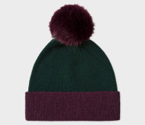 Dark Green and Damson Pom-Pom Wool Hat