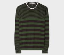 Khaki Stripe Crew Neck Sweater With Textured Collar