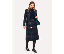Navy, Green And Red Tartan A-Line Midi Skirt With Belt