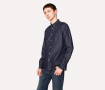 Tailored-Fit Dark Navy Denim Button-Down Shirt
