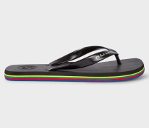 Black 'Dale' Flip Flops With Multi-Coloured Edge