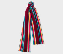 Burgundy 'Artist Stripe' Band Merino Wool Scarf