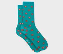 Turquoise 'Daisy Polka' Pattern Socks