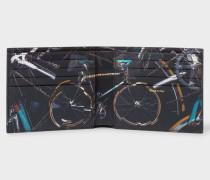Black 'Paul's Bike' Print Interior Billfold Wallet
