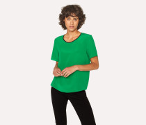 Green Silk Top With Contrasting Trim