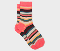 Pink And Glitter 'Artist Stripe' Socks