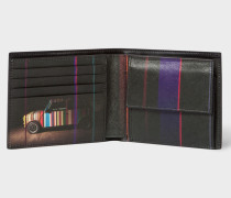Black Leather 'Mini' Print Interior Billfold And Coin Wallet