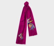 Purple 'Karami Rabbit' Wool Scarf