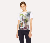 White 'Tropical Tree' Print T-Shirt