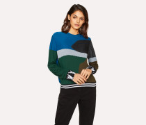 Petrol Blue Colour-Block Textured-Knit Sweater